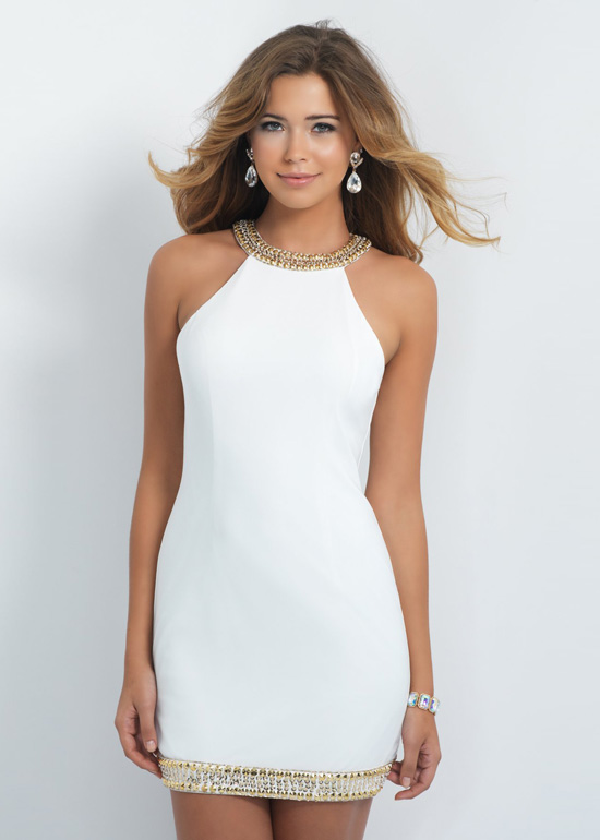 Fitted Off White Beaded High Neck Keyhole Back - image #3258699 by ...