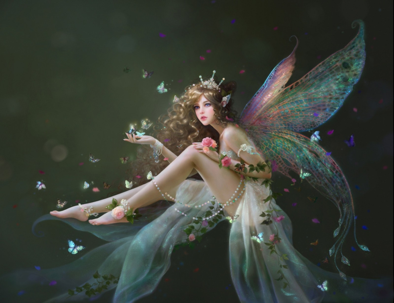 butterfly, drawings and elves