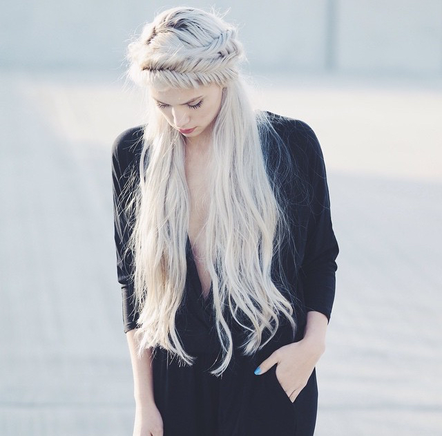 all black, beautiful, blonde, braids, fashion, fishtail, girl, gorgeous, hair, inspiration, pretty, crown braid