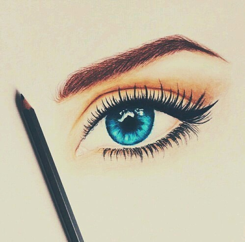 beauty, black and white, blue eyes and drawing