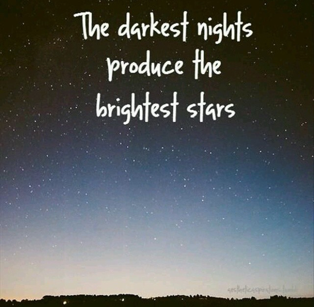 dark, never give up, night, quote, quotes, stars, stay positive