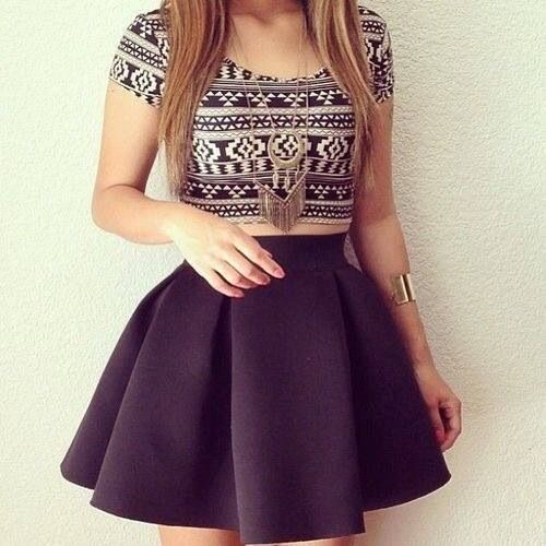 Crop Top Cute Girly Outfit Skirt Image 3328258 By