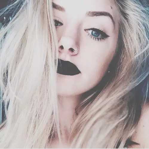 aesthetic, beauty, black lipstick and blond