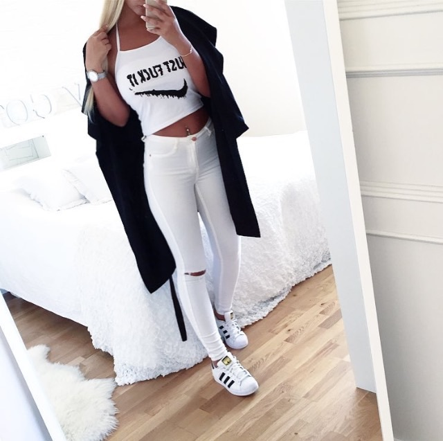 cute outfits with adidas superstars
