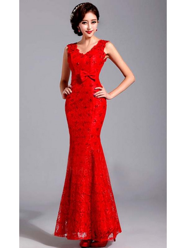 Red lace sleeveless chinese red bridal wedding gown mermaid prom dress