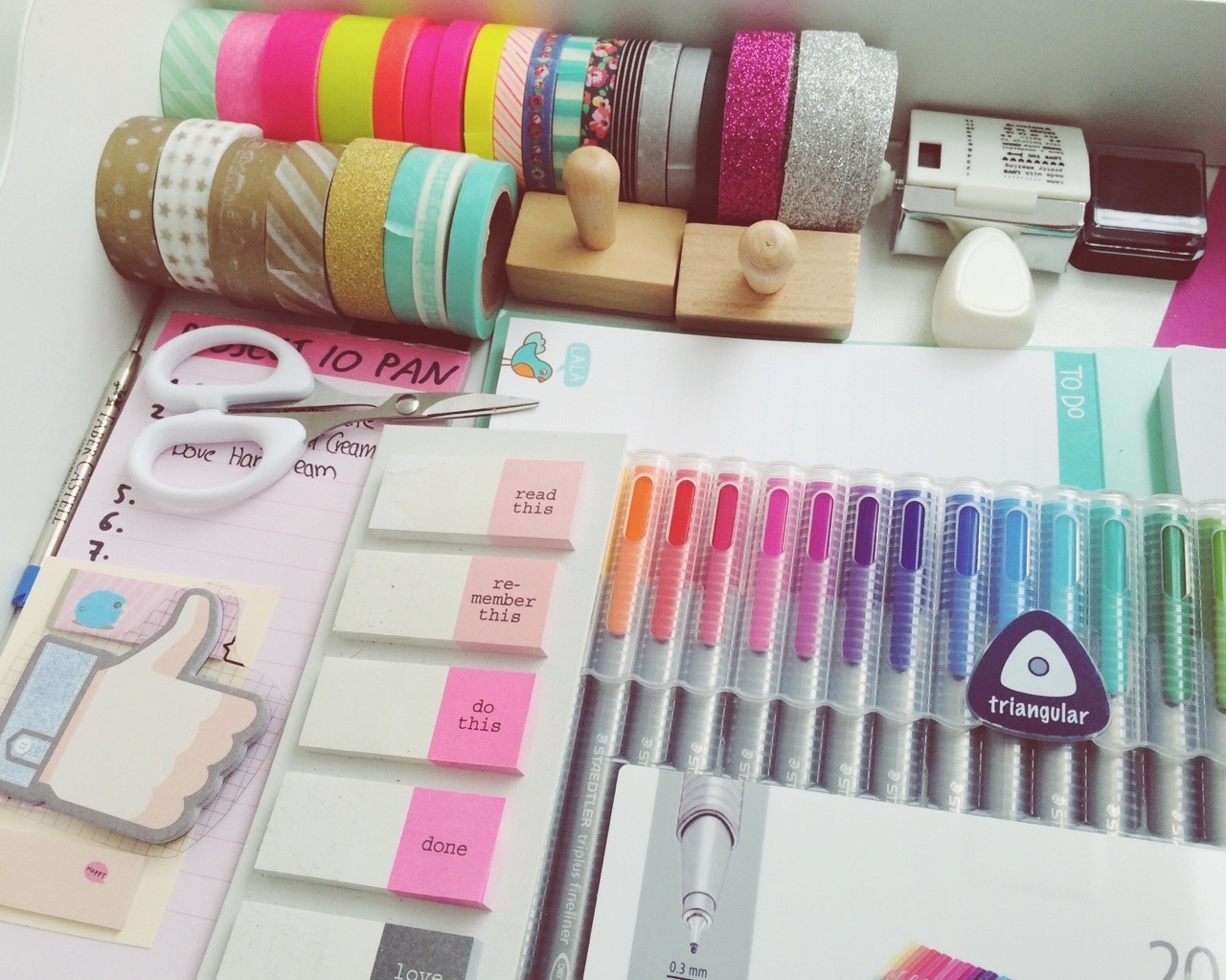colourful, essentials, goals, life, love, notes, pens, ribbon, school, stamps, sticky notes, study, tumblr, studyblr, washi tapes