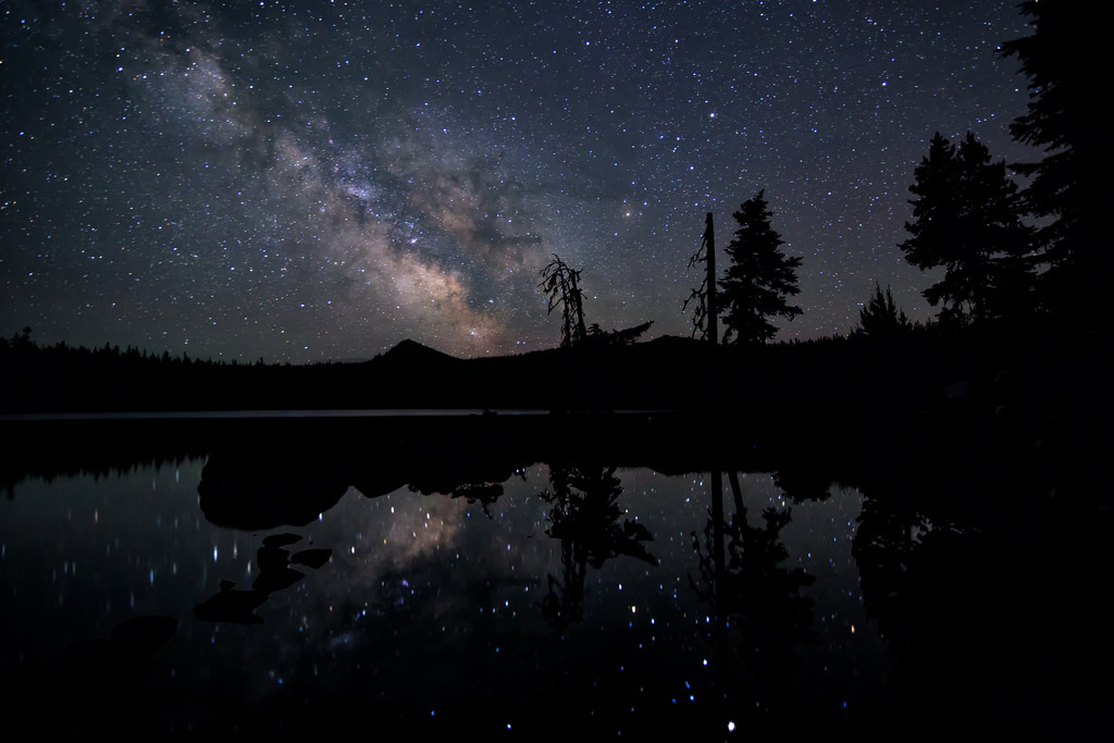 aesthetic, blue, galaxy, goals, indie, lake, milky way, nature, night sky, photography, star, summer, travel, trees, tumblr