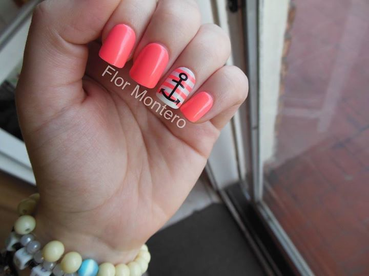 anchor, black, bracelets, cool, cute, fake nails, kiss, lines, nail art, nail polish, nails, neon, pink, sailor, stripes, impress nails