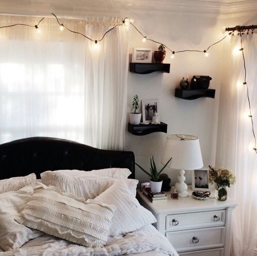 bed, organize, girly things, light, vintage, bedrooms ...