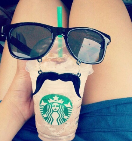 caramel, coffe, cute, mustache, starbucks, swag