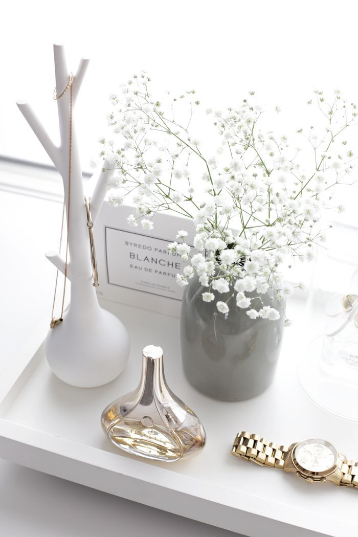 decoration, desk, flowers, gold, grey, necklace, perfume, room, simple, vase, watch, white