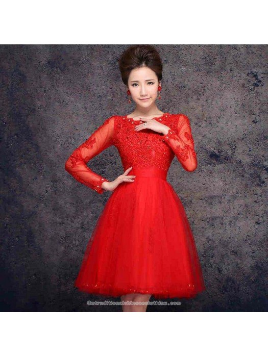 62ac9a91f4c Long sleeve beaded mini A-line party dress modern Chinese red mini bridal
