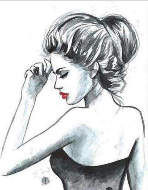 Art drawing girl hair love image 3597848 by for Salon blanc noir et rouge