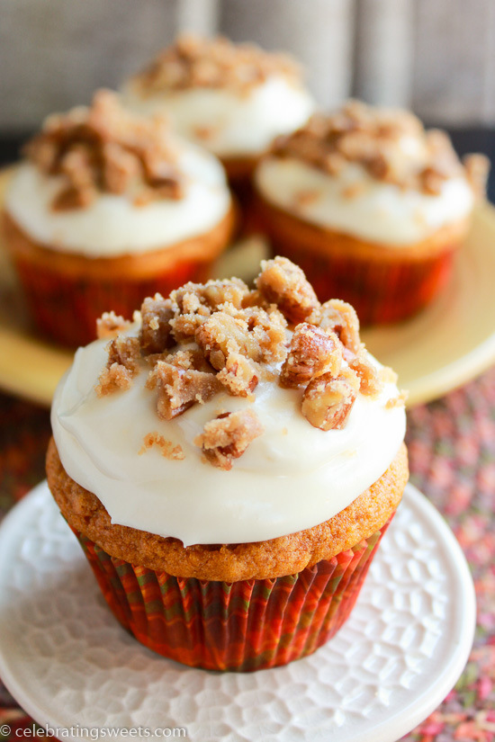 Pumpkin Cupcakes with Maple Cream Cheese Frosting | Celebrating Sweets ...