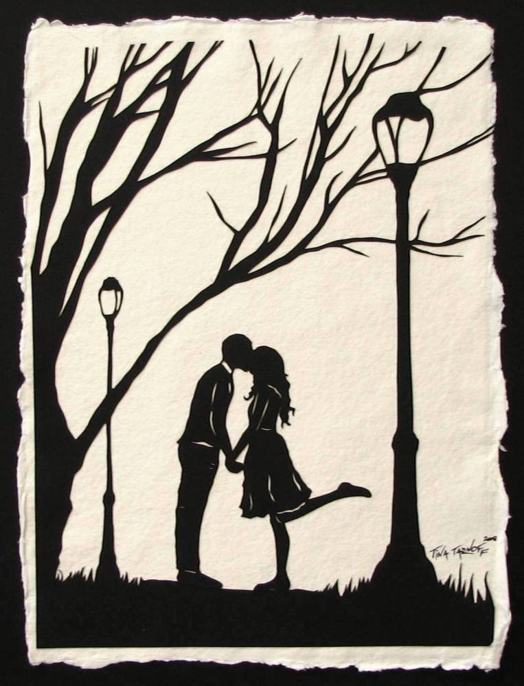 art, autumn, boy, couple, drawing, fall, girl, kiss, love, relationship, silhouette, trees