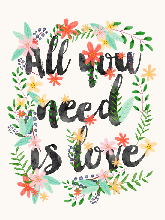 all you need is love art print by mia charro society6