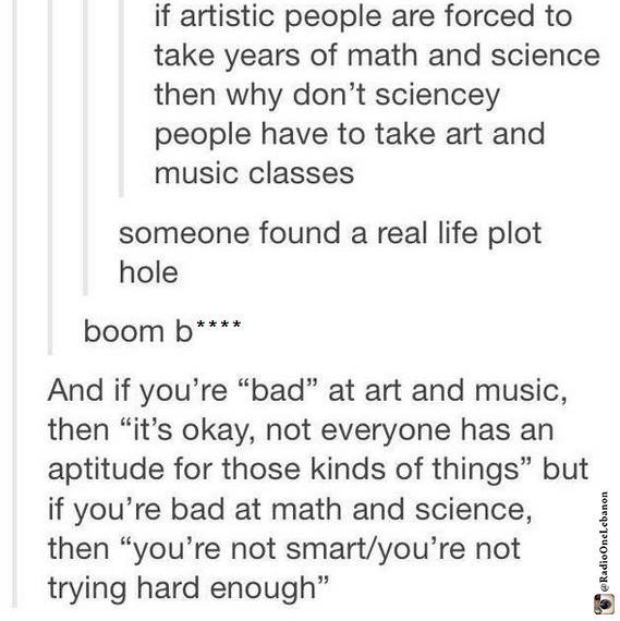 angry, art, black and white, class, hate, lazy, math, music, post, sad, school, science, true, tumblr, tumblr post, inteligence