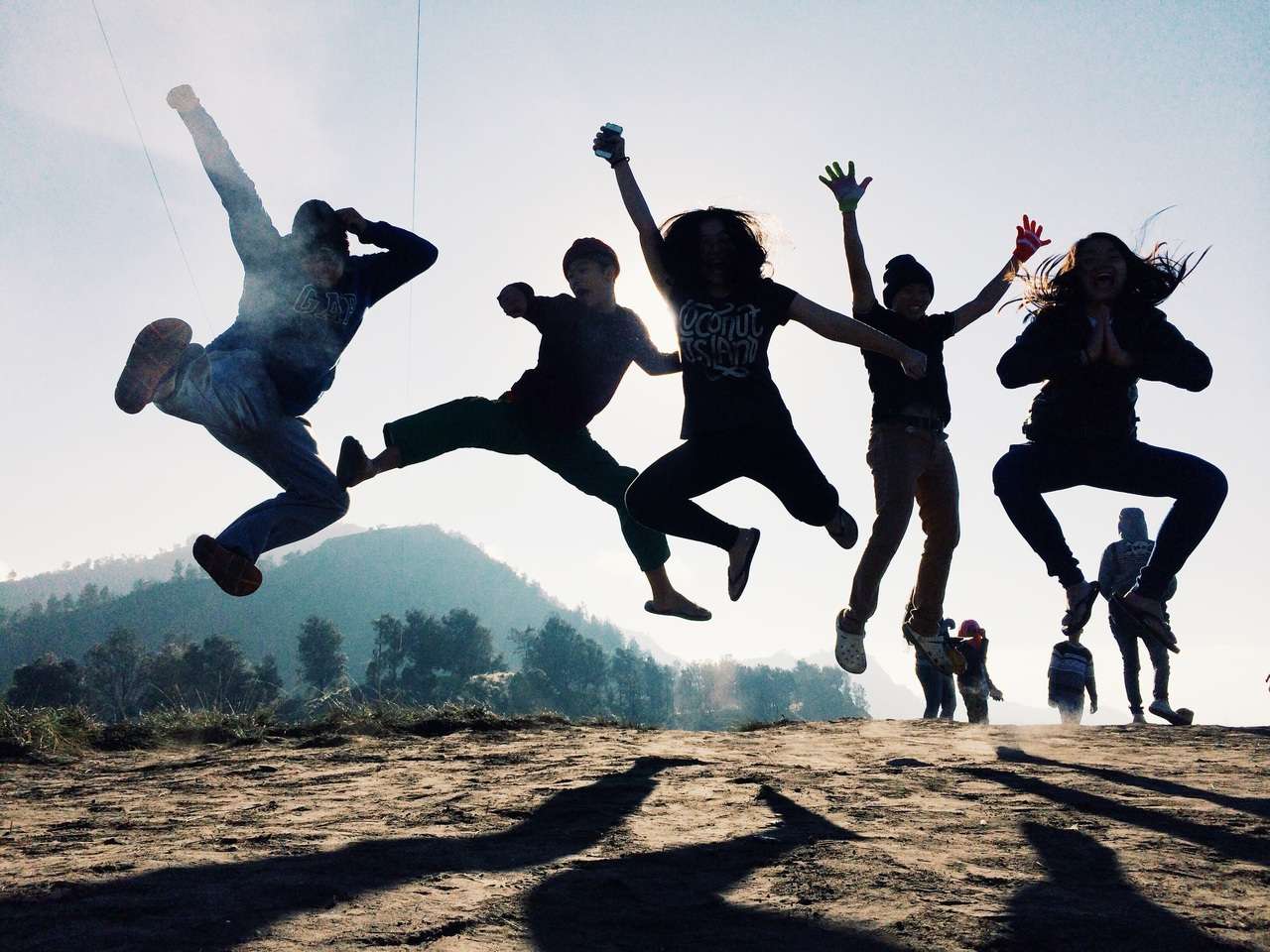 adventure, amazing, black, bromo, coolkids, crazy, freezing, friendship, indonesia, indonesian, jump, landscape, mountain, pose, shadows, silhouette, tumblr, squad, iphone5s, bestfriend