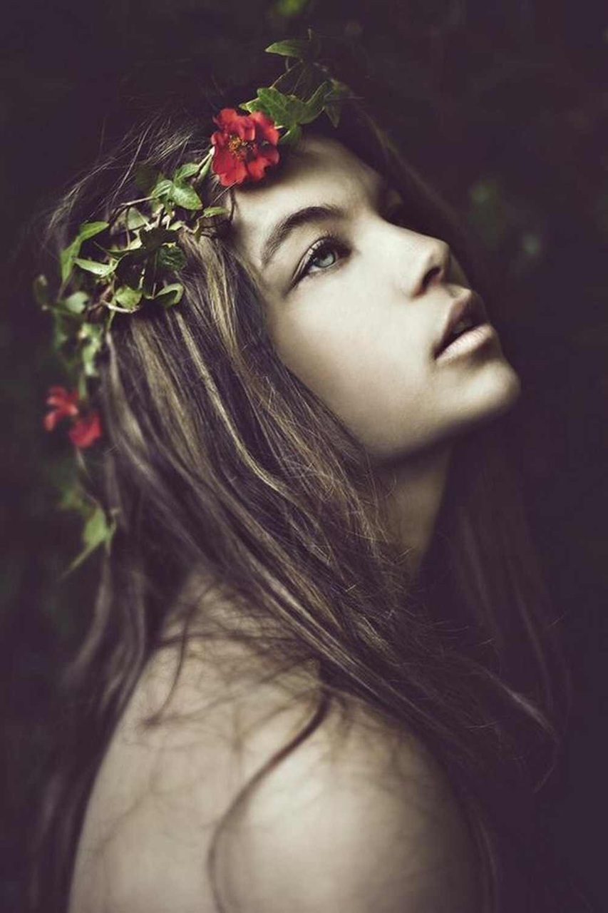 beautiful, black and white, brown hair, flowers in hair, gray eyes, long hair, pretty, red