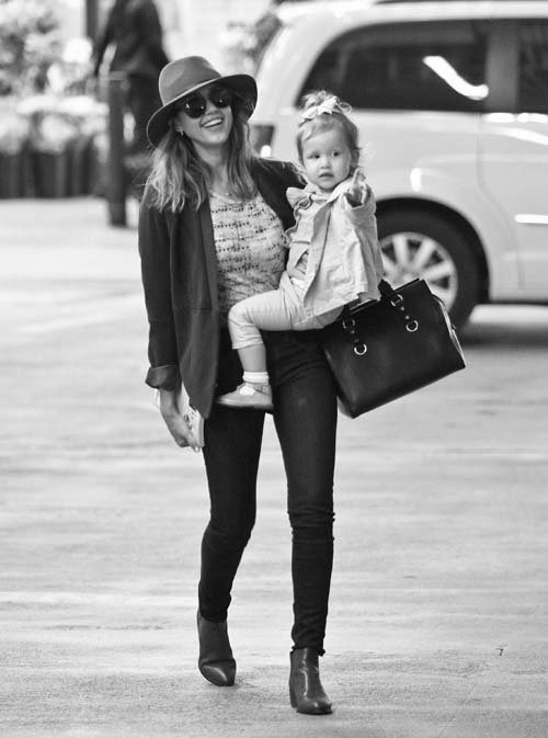 actress, black and white, fashion, jessica alba, love, mother, street, style