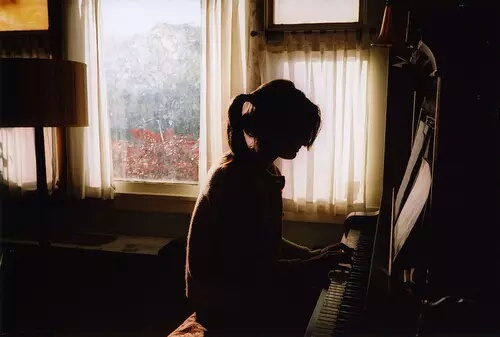 beautiful, girl, hipster, indie, piano, retro, vintage