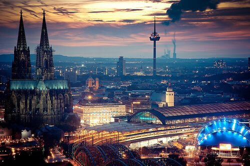 alemania, church, city, ciudad, cologne, colonia, country, dom, europa, europe, german, germany, k, koln, kolner dom, lights, night, photography, pretty, sky, skyline, stadt, station, sundown, sunset, tower, train station, travel, travel the world