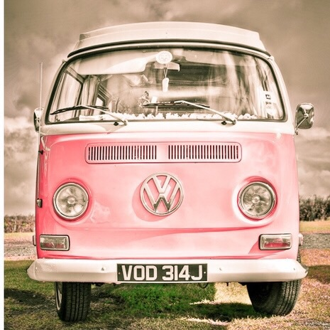 antique, happy, hippie, pink, retro, vintage, vw bus, vw van, First Set on Favim.com
