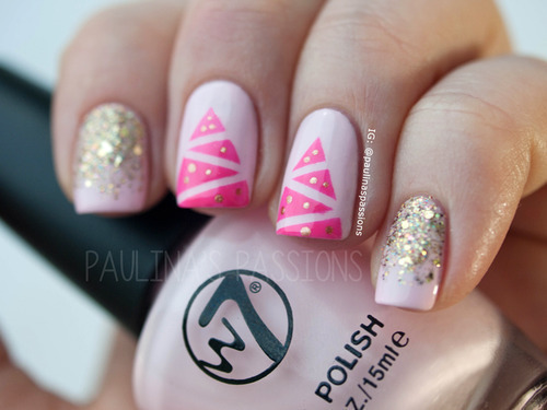beauty, celebration, christmas, christmas time, christmas tree, dark pink, december, gold, happy new year, holiday, holidays, manicure, merry christmas, nail, nails, new year, pi, spruce, striped, stripes, fir-tree, spruce christmas