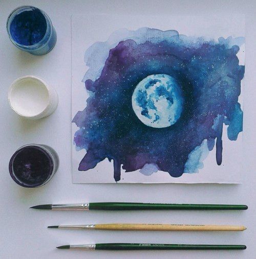 art?, beautiful, black, blue, cute, drawing, glitter, goals, love, moon, painting, paints, white, notmypicture