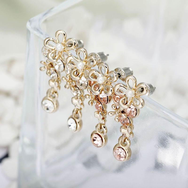 beautiful, charm, chic and cluster flower cry  stal earrings