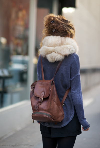 adorable, backpack, bag, blond, blond hair, cool, cute, denim, denim short, fashion, girl, hair, leather, messybun, scarf, simple, style, winter