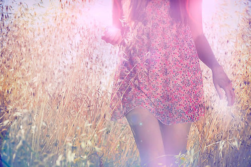 adorable, beautiful, bohemian, boho, bright, cute, dress, field, floral, girl, girly, hair, hay, hipster, light, nature, outside, pretty, romantic, soft, spring, summer, sunset, sweet, vintage