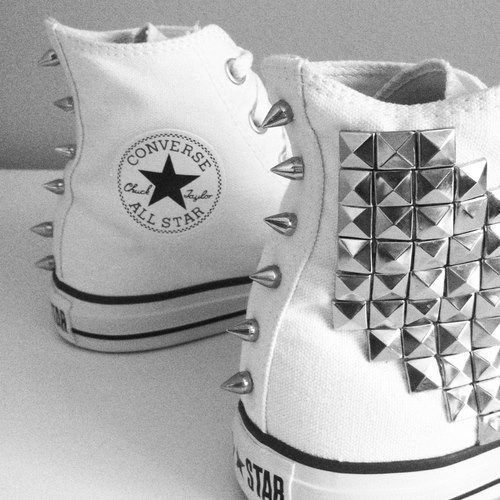all star, amazing, awesome, converse, cool, fashion, girl, nice, studded converse, studs, want, white converse