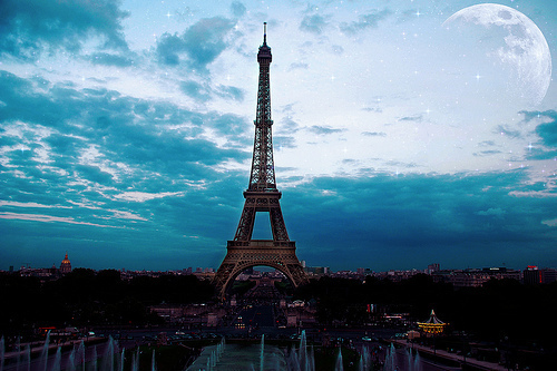 amazing, blue, dark, eiffel tower, france, love, moon, paris, photo, romantic, sky