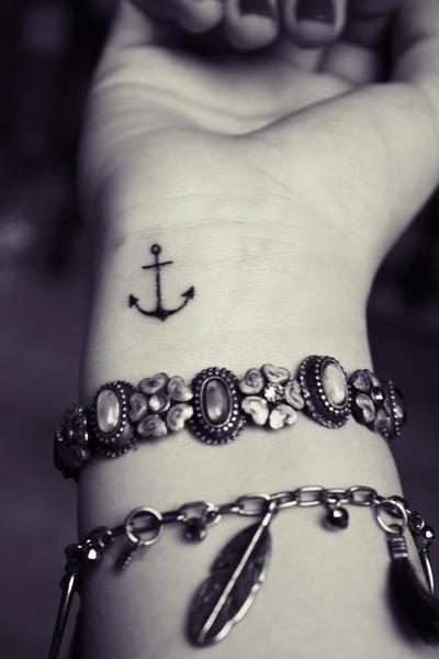 anchor, black and white, bracelet, bracelets, cool, cute, design, fashion, feathers, hand, silver, tattoo, wrist