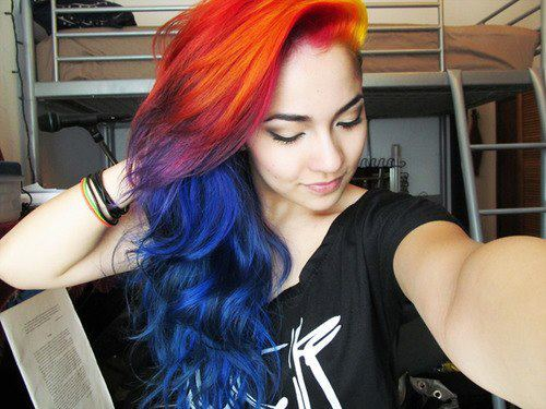 awesome, beautiful, blue, color, colorful hair, colors, cool, good, hair, hairs, like, like it, long, long hair, love it, nice, orange, rainbow, rainbow hair, red, wonderful