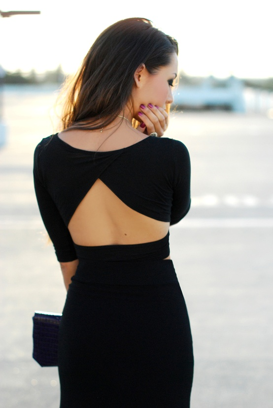back, backless, beautiful, black, black dress, clothes, dress, fashion, girl, photography