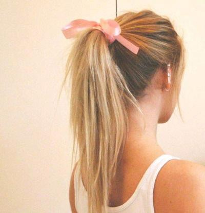 back, blonde, blonde hair, bow, ear, earrings, gorgeous, hair, pony tail, pretty, ring, tanktop