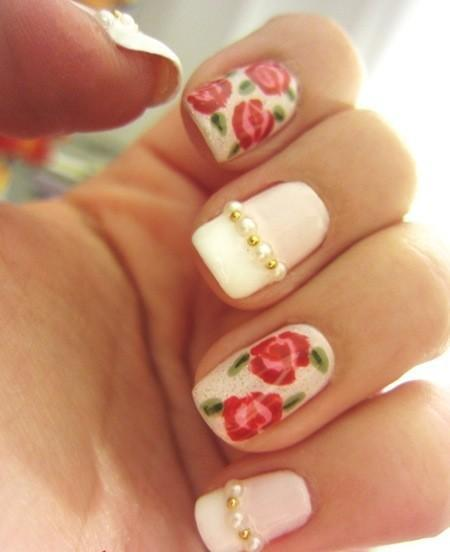 Nail art with pearls ledufa fancy nail art with pearls 16 follows inspiration article prinsesfo Images