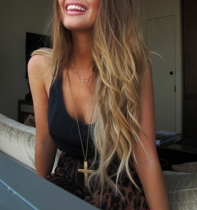 beautiful, blond, blonde, curls, curly, fashion, girl, girly, hair, hairstyle, hipster, jewelry, laugh, long hair, necklace, outfit, pretty, smile, style, summer, teeth, top