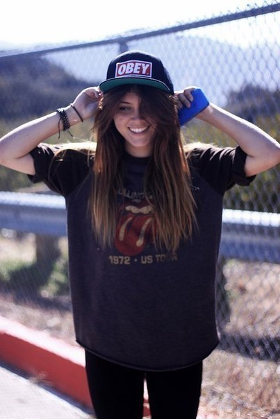 beautiful, cap, fashion, girl, hair, hat, iphone, obey, smile, street fashion