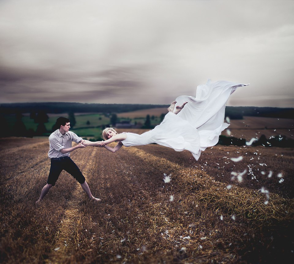beauty, cool, couple, floating, levitate, love, magic, photography, vintage