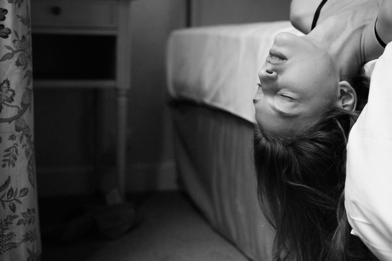 bed, black and white, blonde and depression