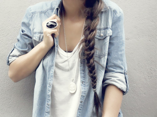 Brown hair fashion girl girls hair jeans long hair ring t