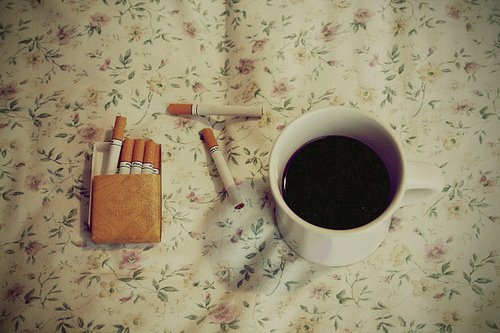 cigarette, coffee, cool, drink, life style, love, photography, pretty, vintage