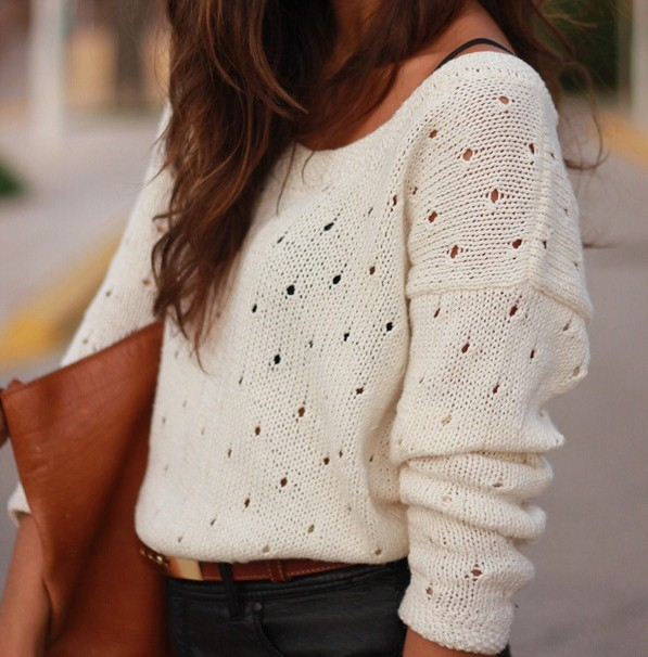 clothes, clutch, cotton, fashion, girl, knit, sweater, white