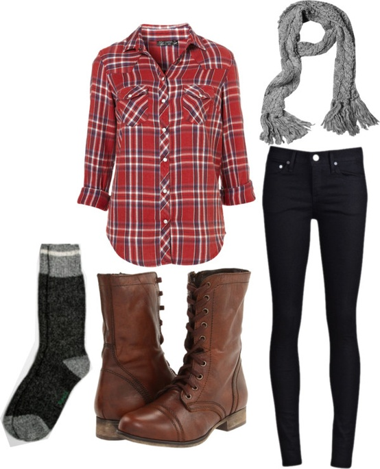 Combat boots comfy fall fashion plaid scarf