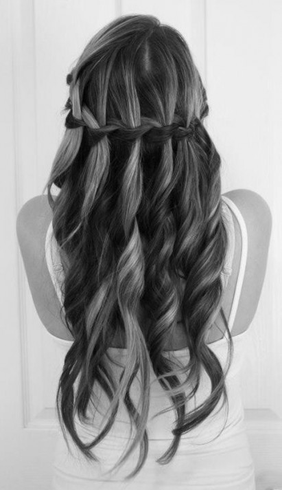 curly, hair, waterfall braid