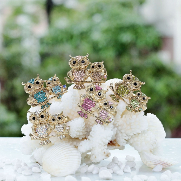 cute, gold owl rings, owl double finger rings and owl rings