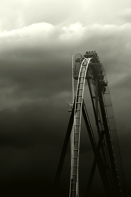 adrenaline, awesome, black, black and white, dark, darkness, fearless, life, photography, rollercoaster, thrill